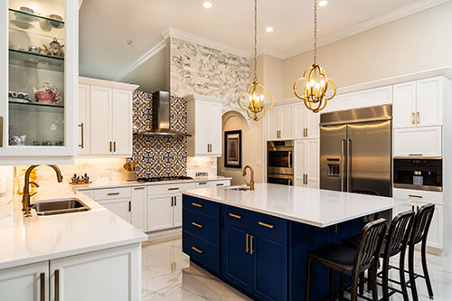 luxury kitchen with quartz countertops