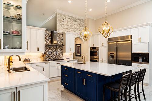 luxury kitchen with quartz countertops