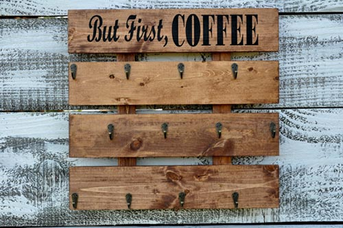 Storage and Organizing Home Products from Etsy - pallet coffee cup storage