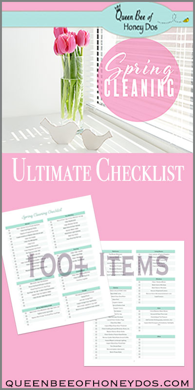 Ultimate Spring Cleaning Checklist pin showing printable pages.