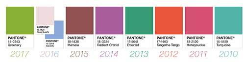 Pantone's color of the year for the last decade.