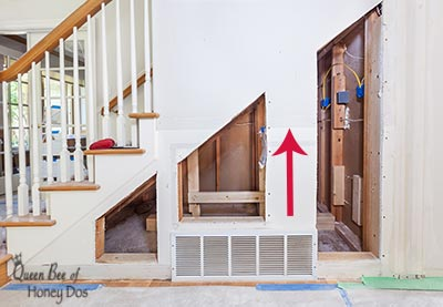 How To Add Storage Under Stairways even when there are in-wall obstacles! Easy to understand renovation and remodeling tips for more storage.