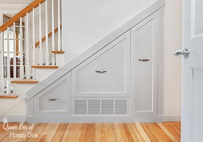 How To Add Storage Under Stairways even when there are in-wall obstacles!