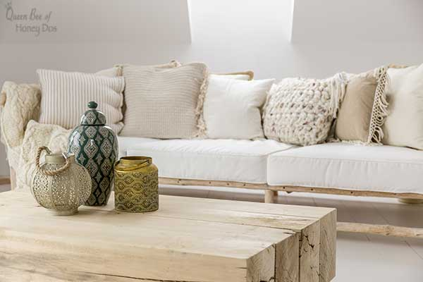 decorating with monochromatic textured pillows
