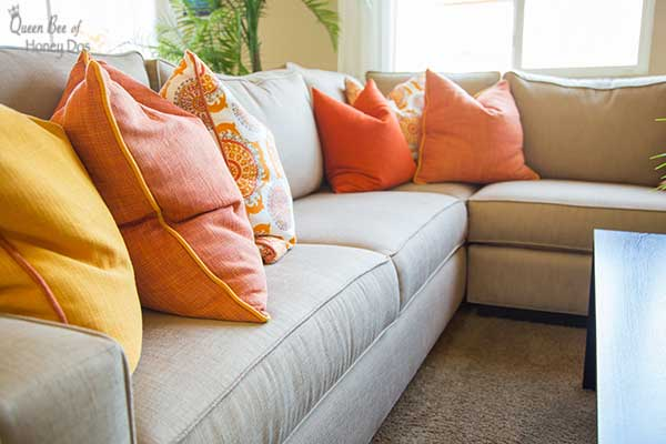 decorating with vibrant solid pillows