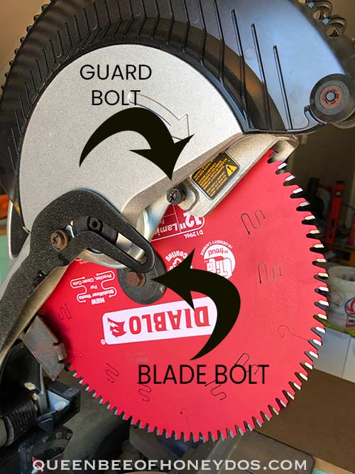 Bolts involved to change Dewalt miter saw blades