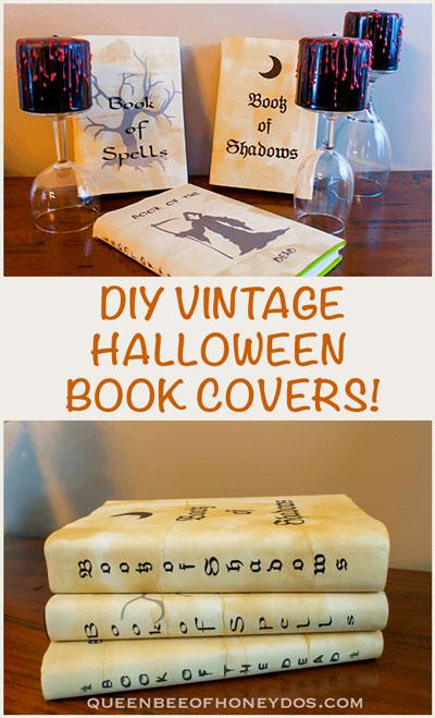 Easy DIY Vintage Halloween Book Covers