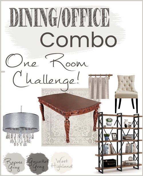 Dining/Office Combo room makeover mood board.