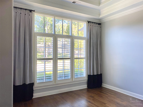 custom DIYed drop cloth curtains