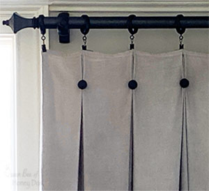 drop cloth curtains view of pleats.