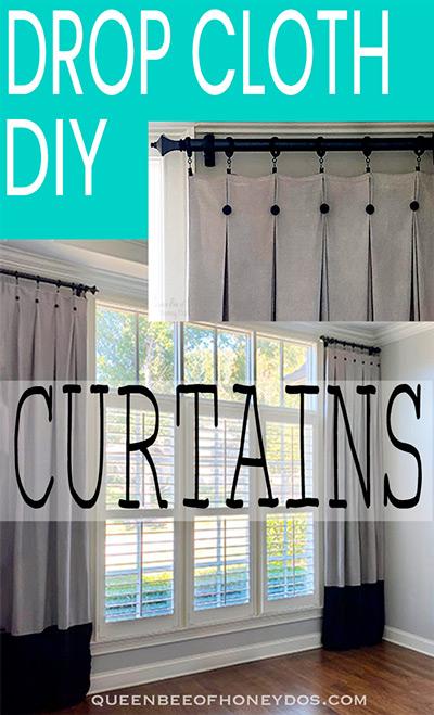 drop cloth curtains pin