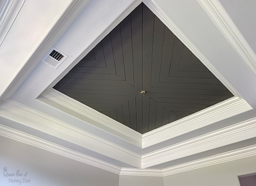 chevron plank tray ceiling with Gauntlet Gray paint