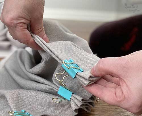 DIY pleats in drop cloth curtain.