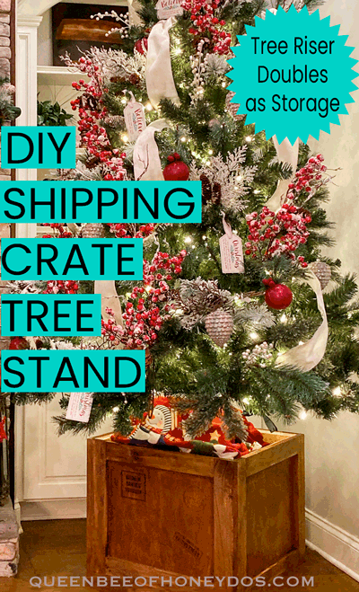 Shipping crate stand with Christmas tree.