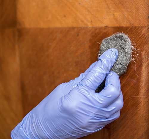 steel wool removing water ring