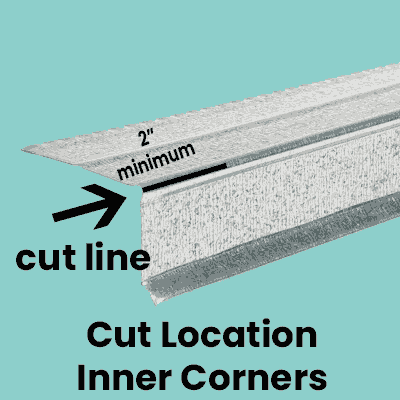 cut mark for drip edge corner