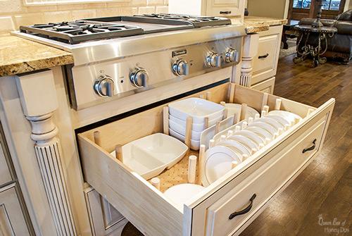after adding custom dish drawer organizer