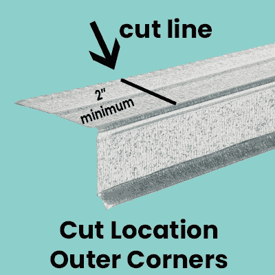 cut marks for drip edge corner