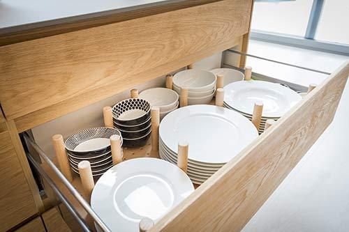 custom peg board drawer for plates