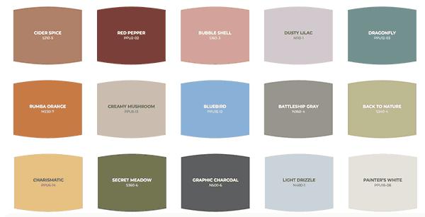 Behr's color palette.