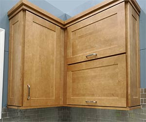 stained shaker cabinets