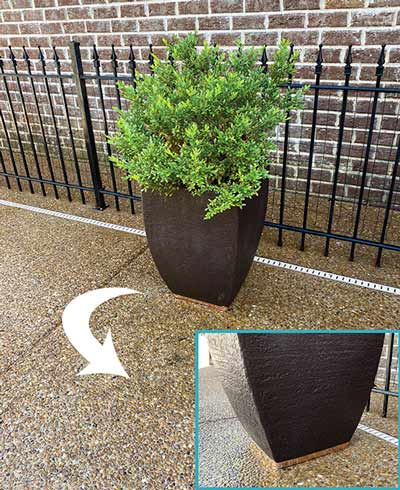 planter with cooper tape