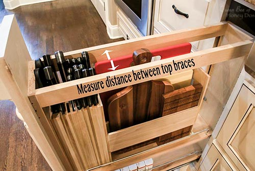 overhead view of knife drawer organizer pullout