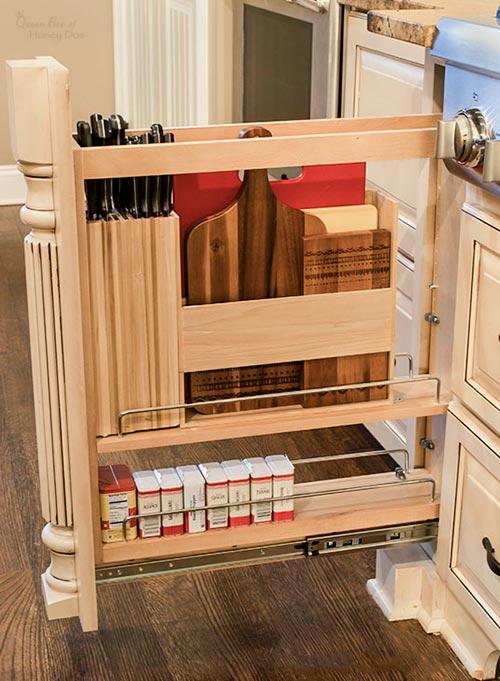 knife organizer and cutting board storage drawer