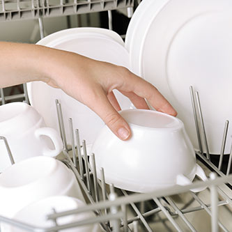 hand placing dishes in dishwasher
