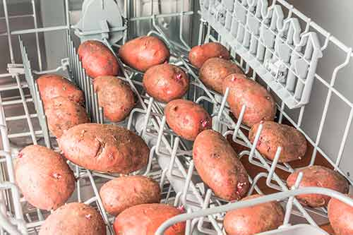 potatoes in dishwasher