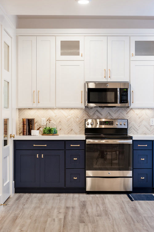 two-toned navy cabinets