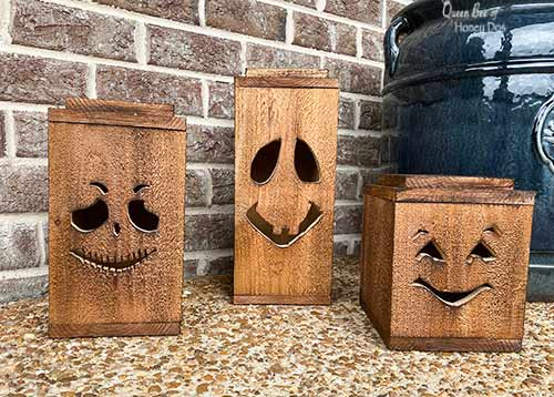 rustic Halloween lanterns with stained finish