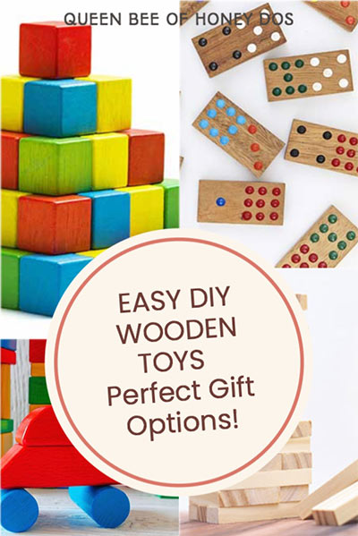 Easy but classic diy wooden toys that can be made by anyone. These make perfect gifts and most do not require any woodworking skills! #woodworking #gifts #toys