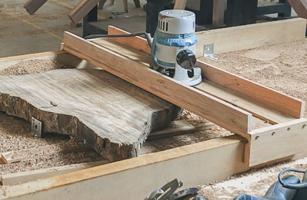 flattening wood slab with router