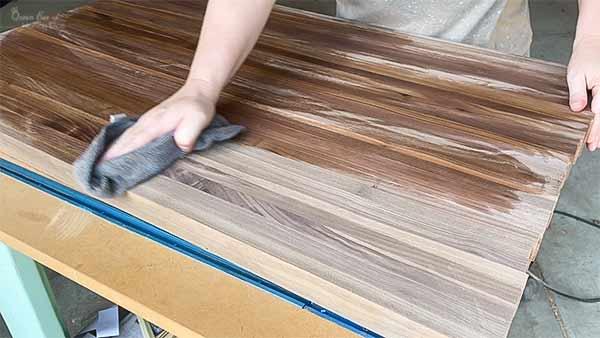 raising the grain in walnut wood board