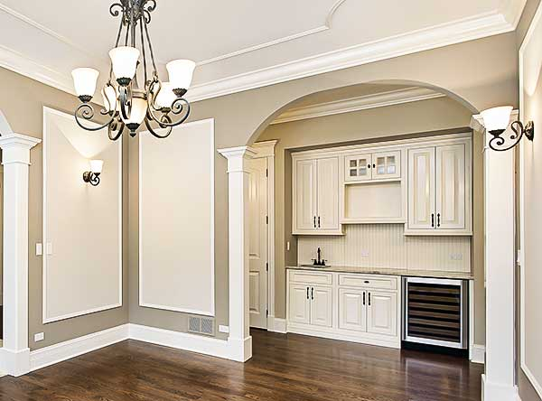 dining room with a view of a butler's pantry