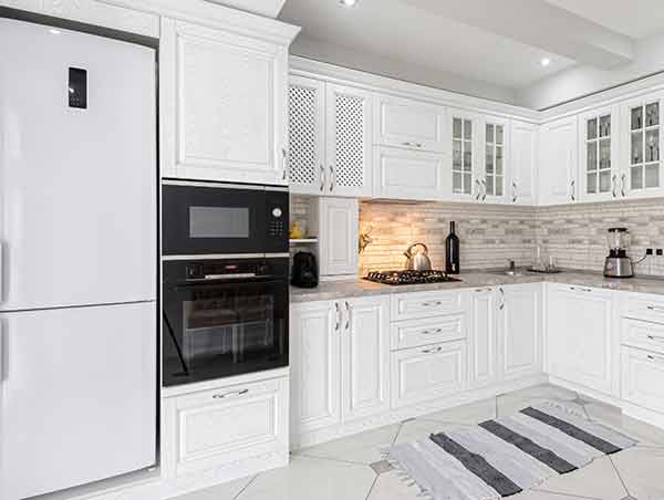 kitchen with an oven and microwave combo